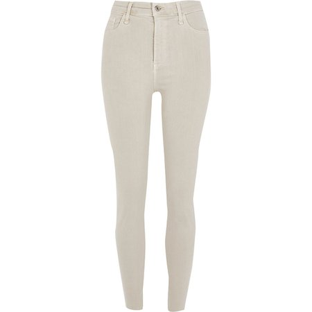 Light beige Hailey high rise skinny jeans | River Island