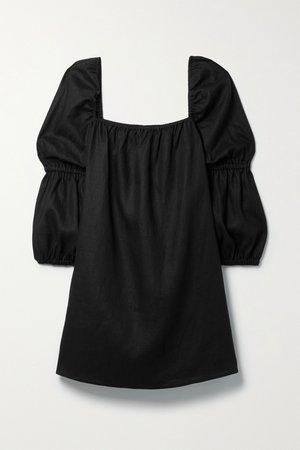 Black Jerri linen mini dress | Reformation | NET-A-PORTER
