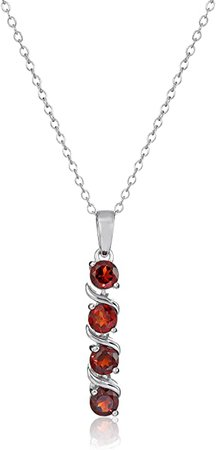 Sterling Silver Genuine Garnet Pendant Necklace