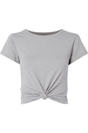 We/Me | The Foundation cropped knotted stretch-jersey T-shirt | NET-A-PORTER.COM