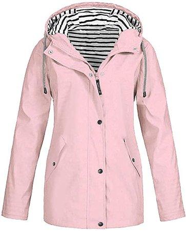 Amazon.com: Women Raincoat Lightweight Waterproof Hooded Windproof Rain Jacket Windbreaker Plus Size Outdoor Trench Coat (M, Pink): Appliances