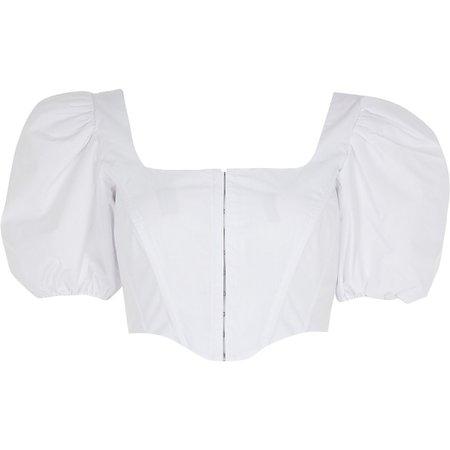 White short sleeve corset top | River Island