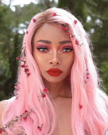 pink hair model girl