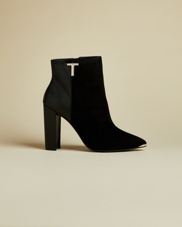 T detail suede ankle boots - Black | Boots | Ted Baker UK