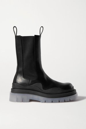 Rubber-trimmed Leather Chelsea Boots - Black