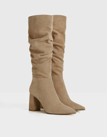 LEATHER slouched boots - New - Bershka United States