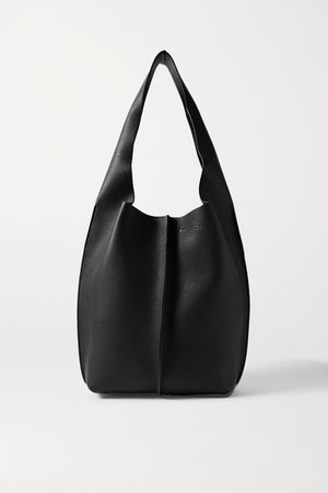 Textured-leather Tote - Black