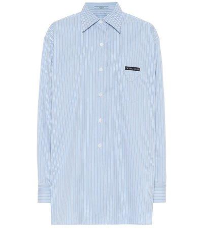 Oversized Striped Cotton-Blend Shirt   Prada - Mytheresa
