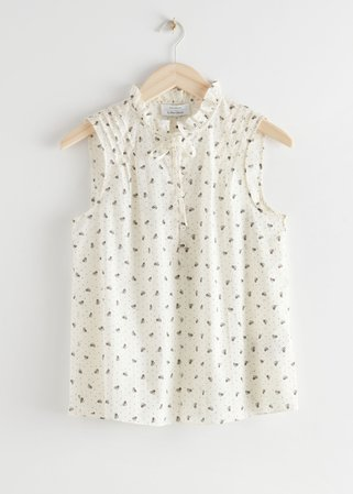 Sleeveless Frilled Blouse - White Print - Blouses - & Other Stories