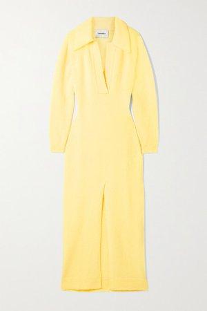 Hope Wool-blend Maxi Dress - Pastel yellow