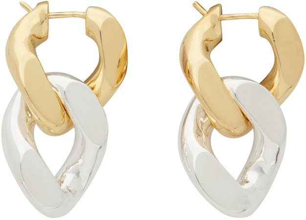 Silver & Gold Bicolor Chain Earrings