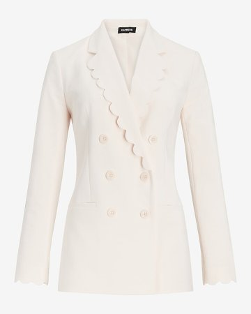 Scalloped Double Breasted Blazer