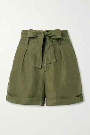 Avery Belted Pleated Linen Shorts - Army green