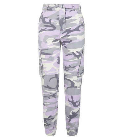 Lilac Camo Print Utility Trousers | New Look