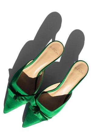 Alexandre Birman Green Tie Slip On Pumps