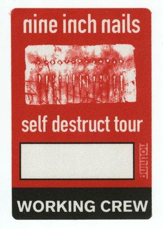 Nine Inch Nails 1994 Self Destruct Tour Red WORKING CREW Backstage Pass! NIN   eBay