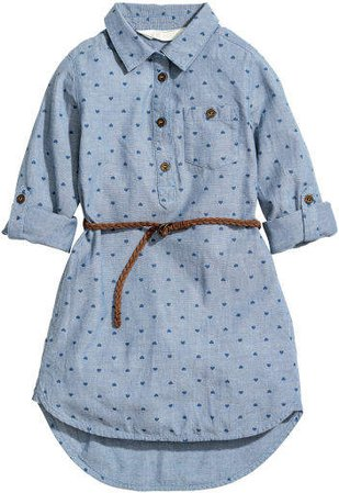 Shirt Dress with Belt - Blue