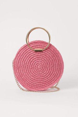Round Straw Shoulder Bag - Pink