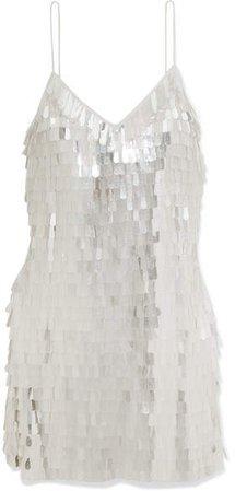 Alice Olivia - Contessa Paillette-embellished Chiffon Mini Dress - White