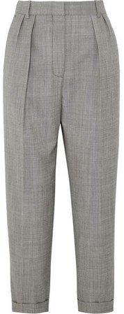 Cropped Pleated Wool-twill Slim-leg Pants - Gray