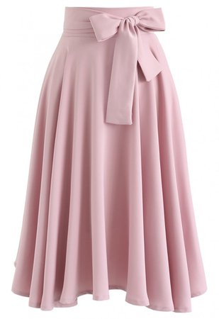 Flare Hem Bowknot Waist Midi Skirt in Pink - Skirt - BOTTOMS - Retro, Indie and Unique Fashion