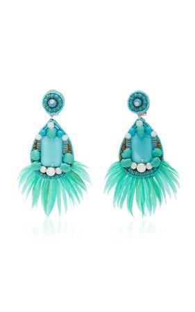 Embellished Turquoise Earrings by Ranjana Khan | Moda Operandi