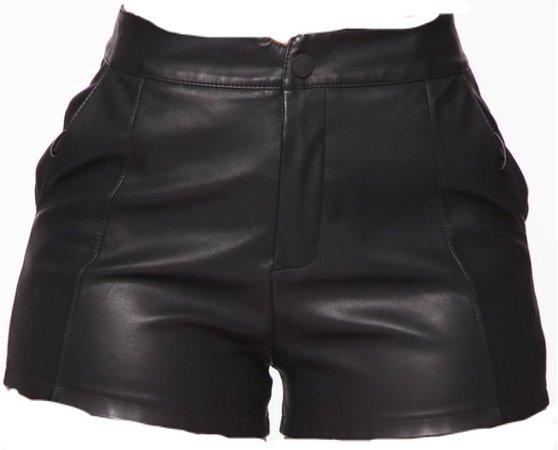 Leather shorts-Black