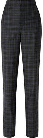 Sebastian Checked Wool-blend Twill Straight-leg Pants - Black