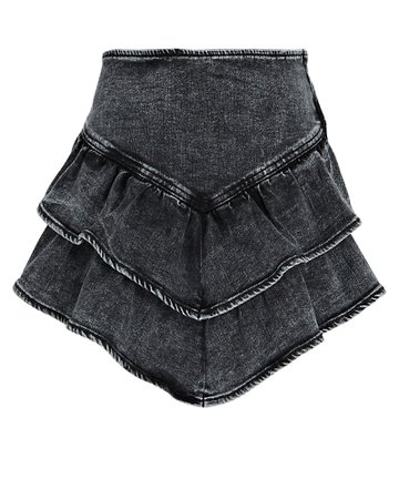 MOTHER Ruffled Denim Mini Skirt | INTERMIX®