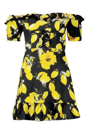 Off The Shoulder Lemon Print Mini Dress | Boohoo