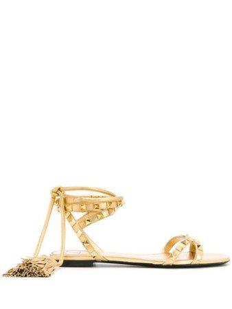 Gold Valentino Garavani Rockstud tasseled sandals - Farfetch