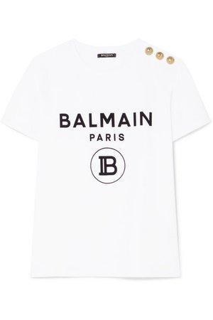 Balmain | Button-embellished flocked cotton-jersey T-shirt | NET-A-PORTER.COM