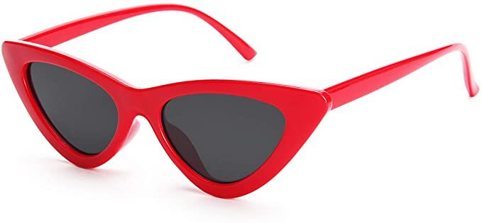 Amazon.com: Livhò Retro Vintage Narrow Cat Eye Sunglasses for Women Clout Goggles Plastic Frame (Red Frame + Grey Lens) : Clothing, Shoes & Jewelry