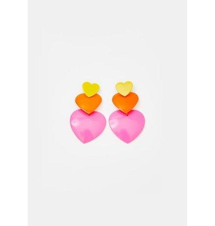 Multi Triple Heart Earrings - Pink Orange Yellow | Dolls Kill