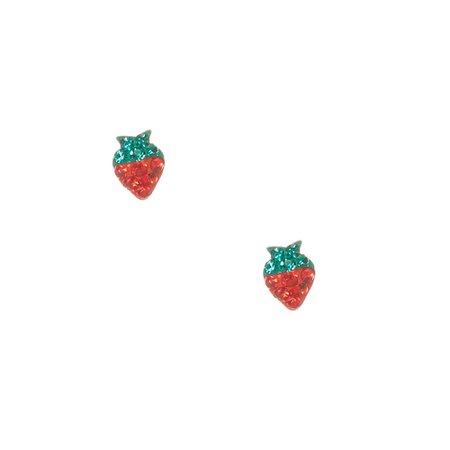 Sterling Silver Crystal Strawberry Stud Earrings | Claire's US