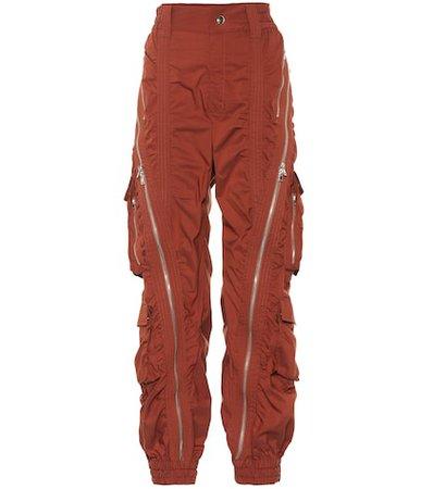 High-waisted cotton-blend pants