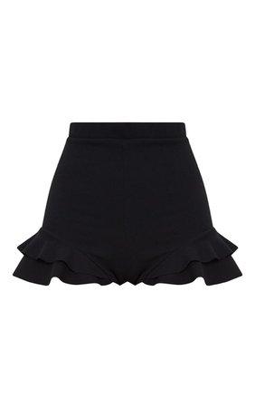 Black Ruffle Detail Hot Pant Short   Shorts   PrettyLittleThing