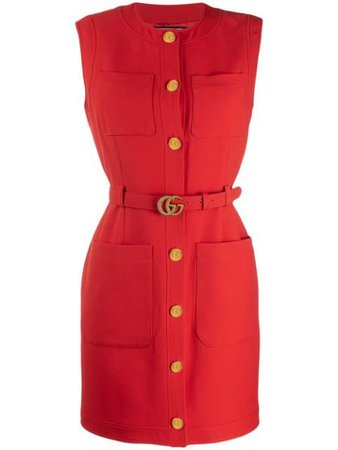 Gucci Belted Dress 609245Z8AH7 Red | Farfetch