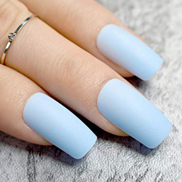 baby blue nails matte