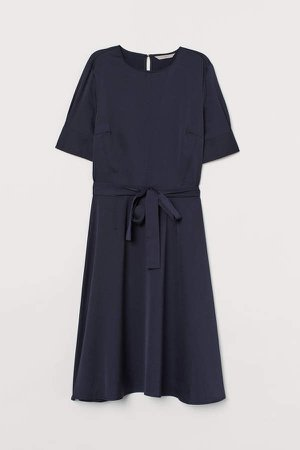 Tie Belt Dress - Blue