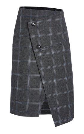 Plaid Asymmetric Wool Button-Front Skirt By Marni | Moda Operandi
