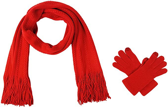 Bruceriver Women's Knit Scarf & Glove Set Cashmere Feel and Cable Design (Red Touchscreen) at Amazon Women's Clothing store
