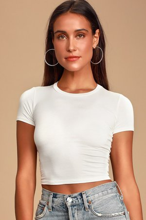 Cute White Tee - Short Sleeve Tee - Crop Tee - White Top