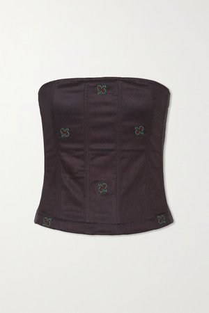 Lucy Embroidered Cotton-blend Bustier Top - Navy