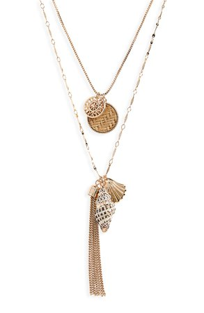 BP. Layered Shell & Tassel Necklace | Nordstrom