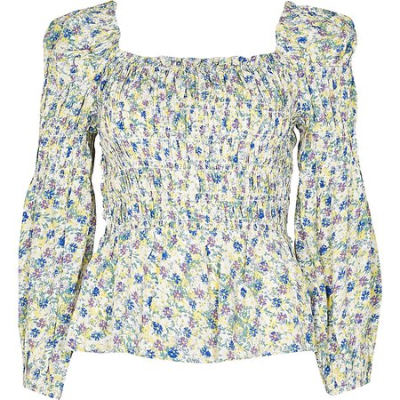 Cream floral shirred puff sleeve blouse top | River Island