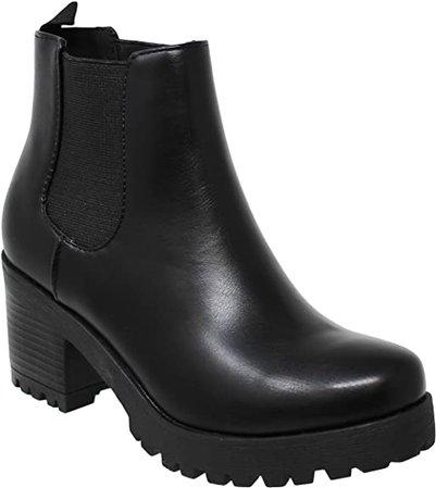 Amazon.com | MVE Shoes Women's Block Heel Lace Up Side Zipper Ankle Boots | Ankle & Bootie