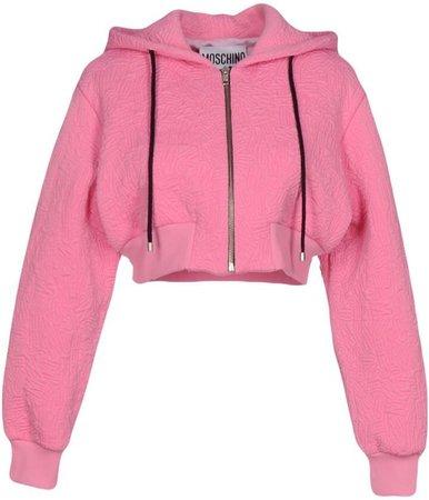 pink moschino embroidered hoddie jacket