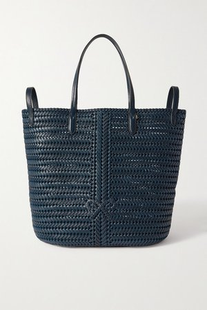 Neeson Woven Leather Tote - Navy