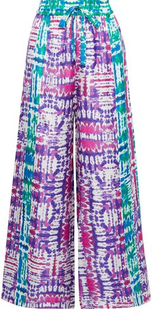 Tie-dyed Silk-faille Wide-leg Pants